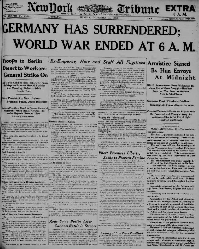 This is a news article from the New York Tribune released at the end of WWI. It clearly states, in the title, that Germany surrendered.