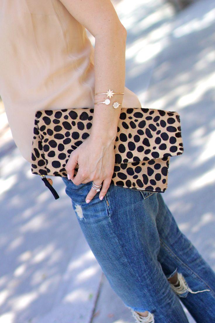 clare v. leopard fold over clutch, itsy bitsy indulgences
