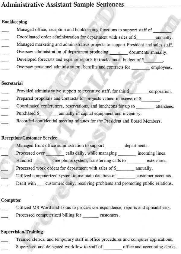 receptionist administrative assistant resume sample