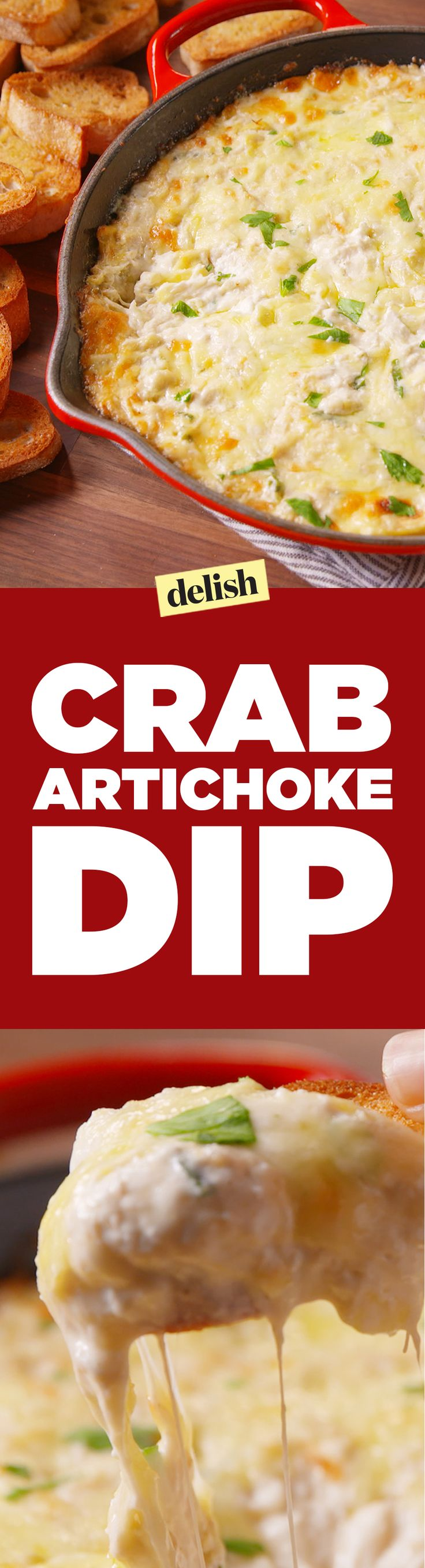 Crab & Artichoke Dip is so good, you might lick the skillet. Get the recipe on Delish.com.