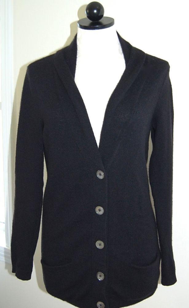 Vince 100% Cashmere Long Black Cardigan Sweater Pockets XS #Vince #Cardigan
