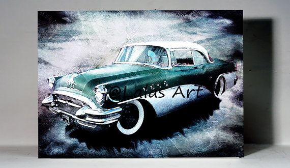 Vintage Retro Style Art Old-timer 1955 Buick by LalasArtWorld