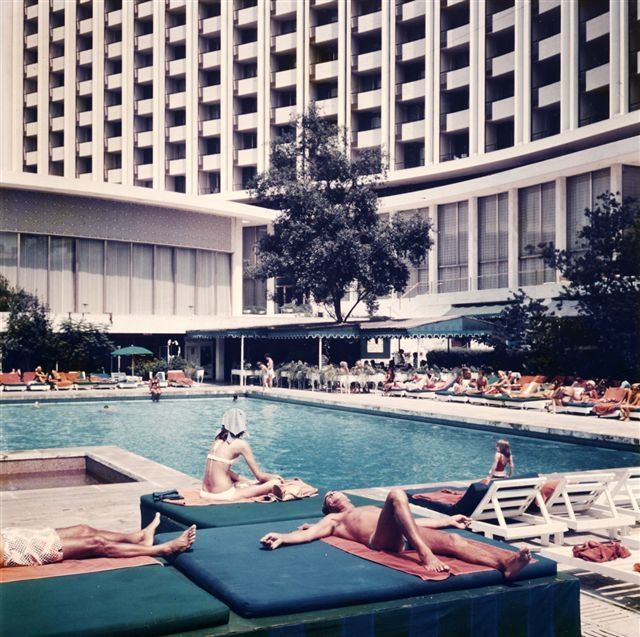 The outdoor pool of Hilton Athens in the 1970's decade.