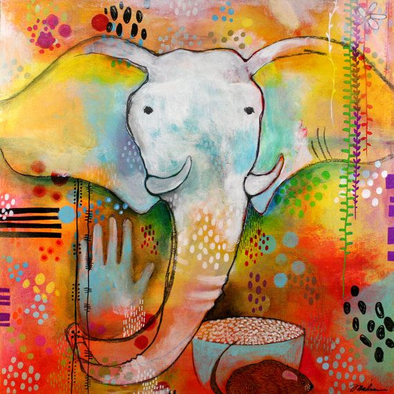 Elephant Painting, Art, Original Painting, Animal Painting, Abstract Landscape, Colorful Art, Alaskan Art, Expressionist Art, Outsider Art on Etsy, $575.00