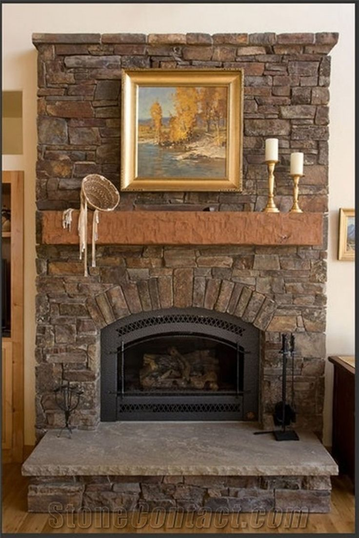 Rustic Stone Fireplace With Brown Mantel Shelf And Grey