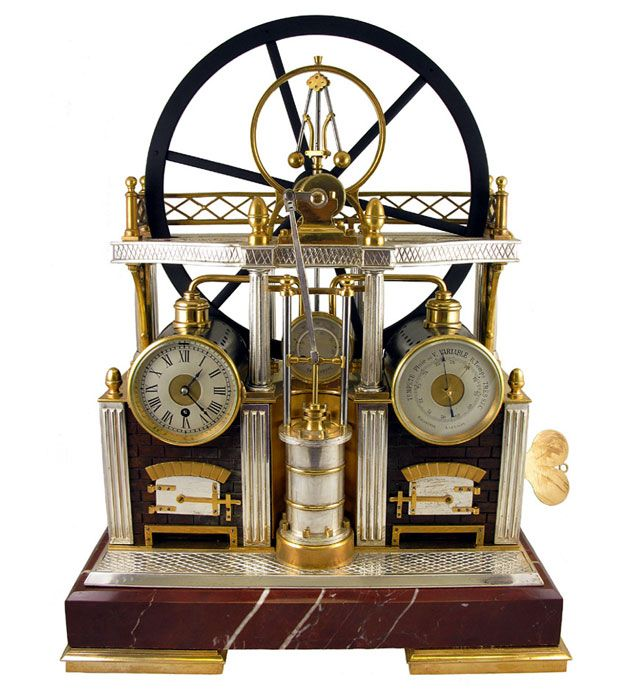 French industrial steam engine clock and barometer (circa 1890)