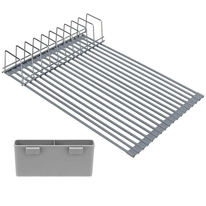 Arcci Roll Up Dish Drying Rack No Slip Silicone Coated Dishes
