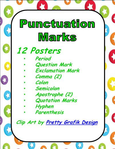 This is a set of 12 posters for punctuation marks. Each chart/poster gives a definition and at least one example. The punctuation marks included are: Period Question Mark Exclamation Mark Comma (2) Colon Semicolon Apostrophe (2) Quotation Marks Hyphen Parenthesis. These are perfect for classroom display or to copy for student notebooks. Use these posters for review or introduction.