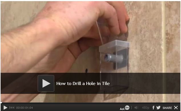 #Video: How to Drill a Hole in Tile - Mounting towel bars, shower doors and other bathroom accessories often require drilling holes in tile. Here's how to use a Brutus drill bit kit to drill holes in tile without cracking the tile. Get a perfect worry-free hole every time. Watch: http://www.familyhandyman.com/tools/drills/how-to-drill-a-hole-in-tile