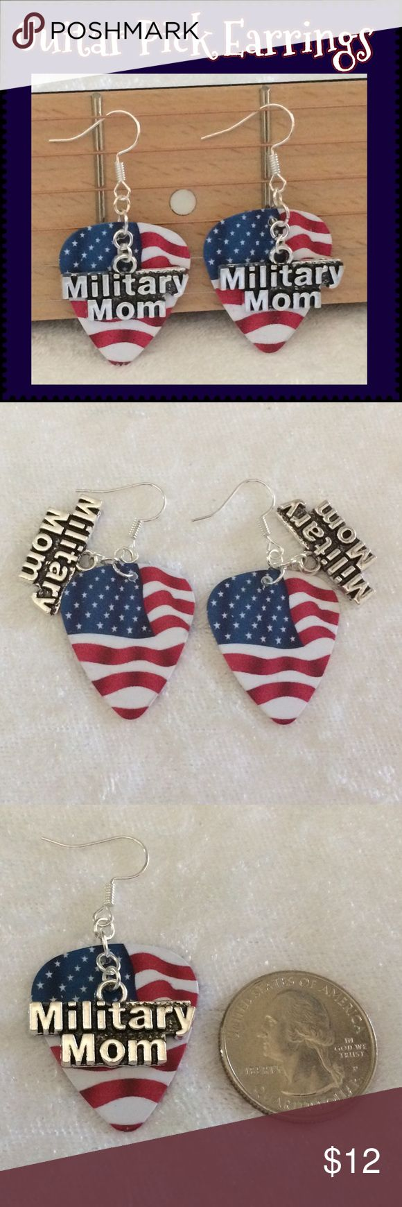 """❤️American Flag Guitar Pick Military Mom Earrings These earrings are made with American Flag heavy card stock printed guitar picks, Tibetan antique silver """"Military Mom"""" charms & silver-plated ear wires & rings. 2"""" long including ear wire*. Handcrafted by me.   *Can be replaced w/ Sterling Silver for additional $1. Comment for a custom listing.  Jewelry items are priced firm as single purchase due to material cost & PM fees.    Bundle special on guitar pick/choker/charm jewelry ONLY: Any 2…"""