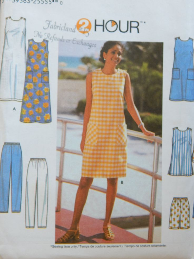 Dress Tunic Pants And Shorts Sewing Pattern/ 2 Hour Simplicity 7140 Womens' Size 18-20-22/ Plus Size/summer coordinates A-line pockets/Uncut by RedWickerBasket on Etsy