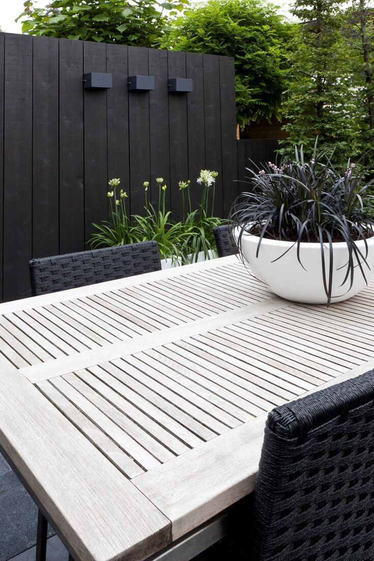 Black painted fences disappear. I painted mine black. They accent your plants and look classy.