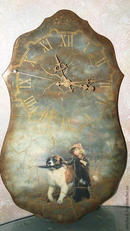 Винтажные часы `Дорога домой`. Очень шикарные, 'старые',  настенные часы. Выполнены в технике художественного декупажа. Украсят Ваш интерьер. (Часы сделаны на МК Михайловской…