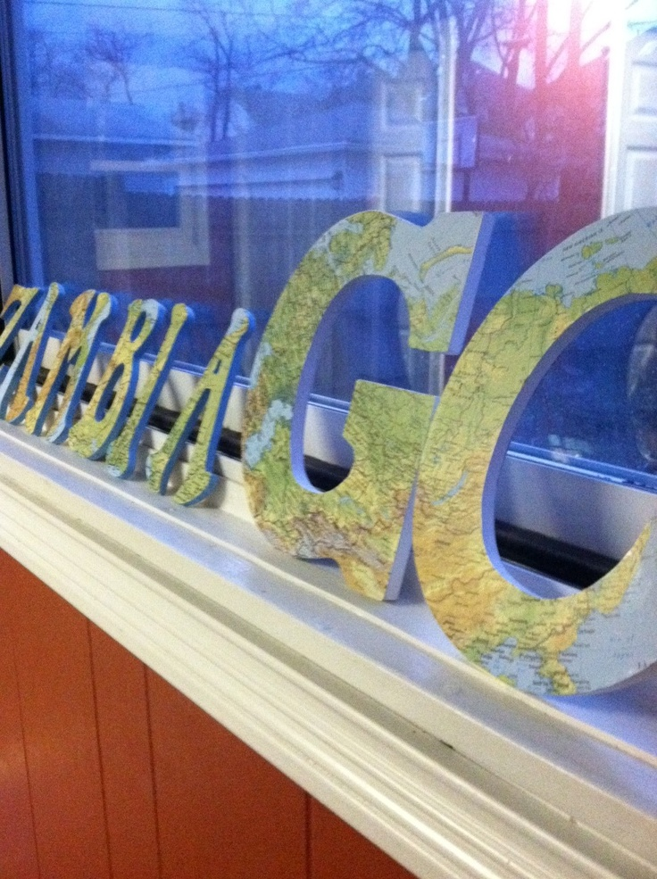 DIY Missions Decor ~ Great idea, decoupage a map on to wooden letters.