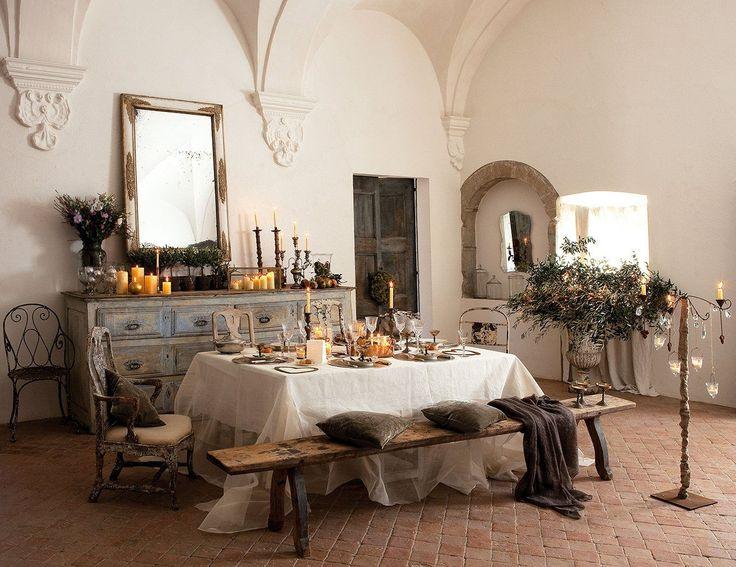 Mesa de comedor de navidad de estilo rústico-vintage