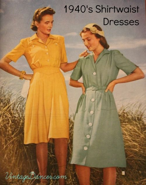 Discover why the 1940s shirtwaist dress or shirt dress was the most popular style of day dresses. Easy to put on, casual, and with many charming details.