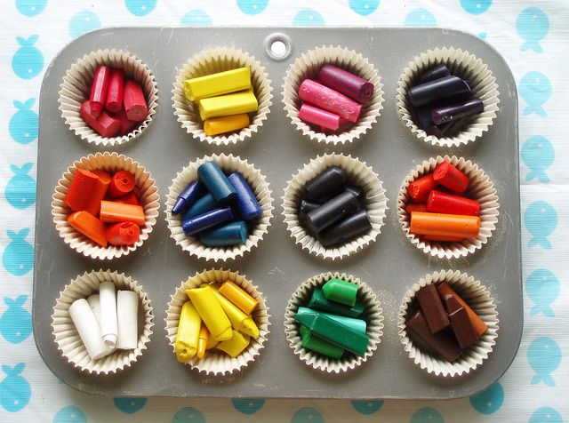 how to use up old crayons and make larger crayons for kids to use!