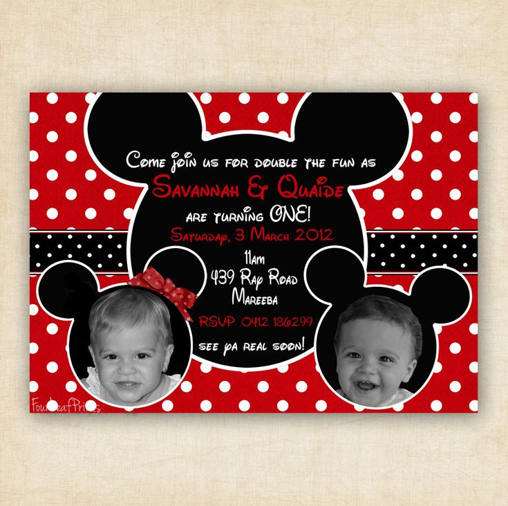 Mickey and Minnie Mouse Twin Birthday Party Invitation