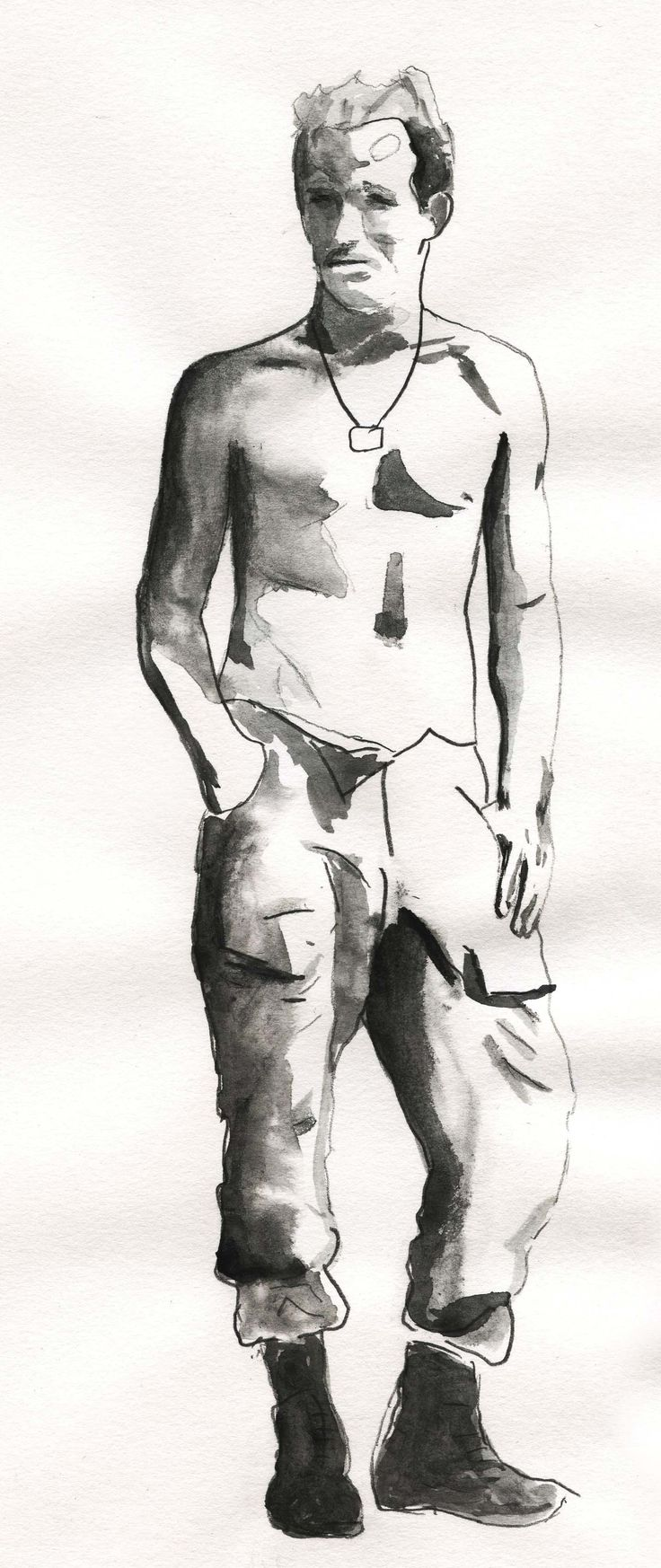 Ink and pencil sketch of photo.