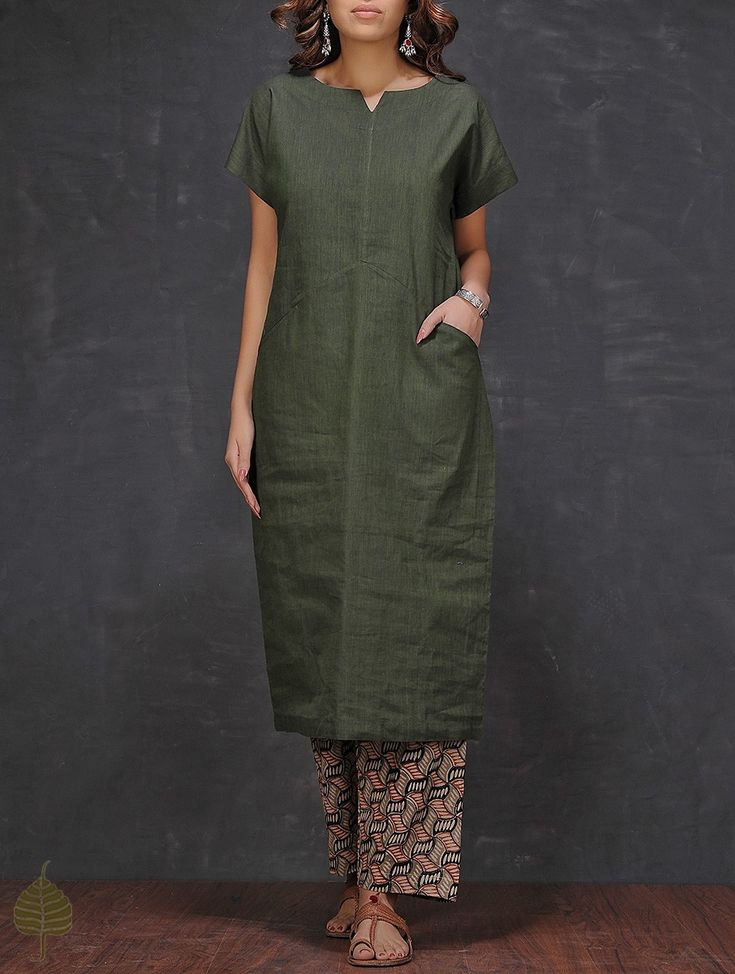 Buy Olive Mangalgiri Cotton Kurta with Pocket by Jaypore Women Kurtas Coromandel Connections Kalamkari printed palazzos and pants Online at Jaypore.com