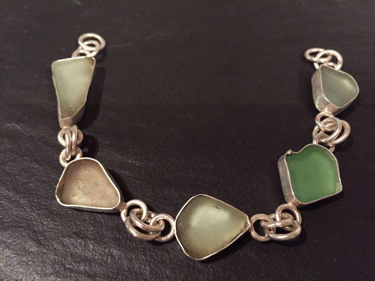 #sea #glass Bracelet Jewelry work in process Sterling Silver