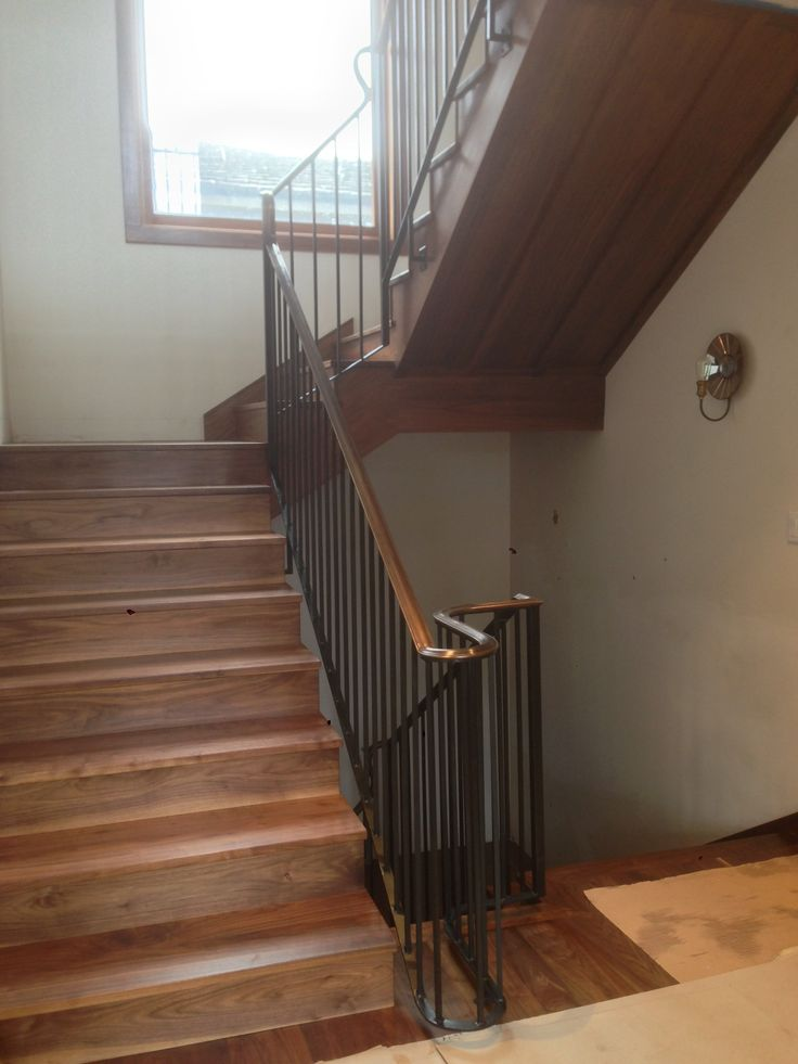 Custom Antiqued Brass And Steel Handrail By Sculptureworks, Sand City. Walnut  Stair Trim By