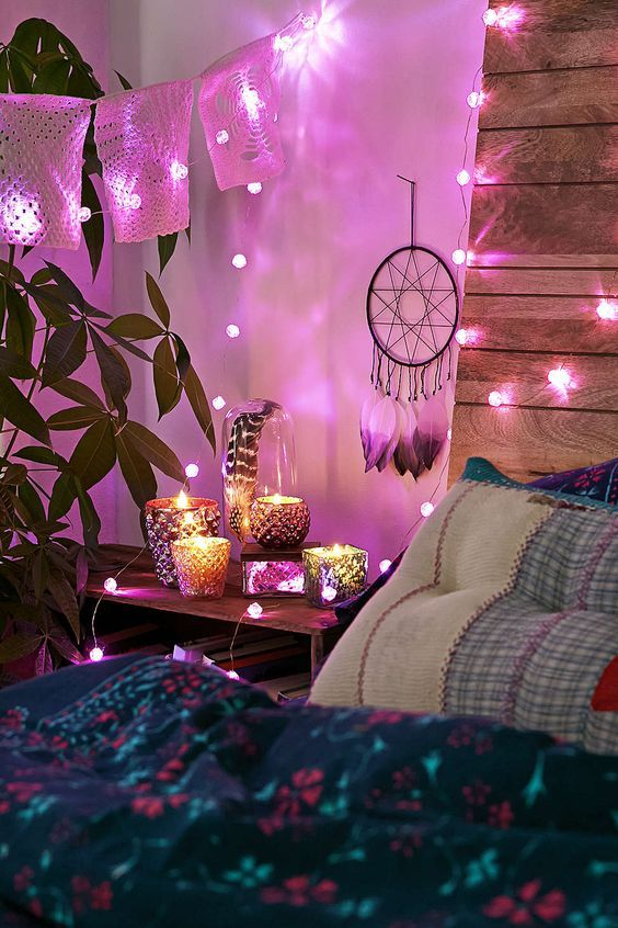 boho bedroom - string lights #bohemian #home #house