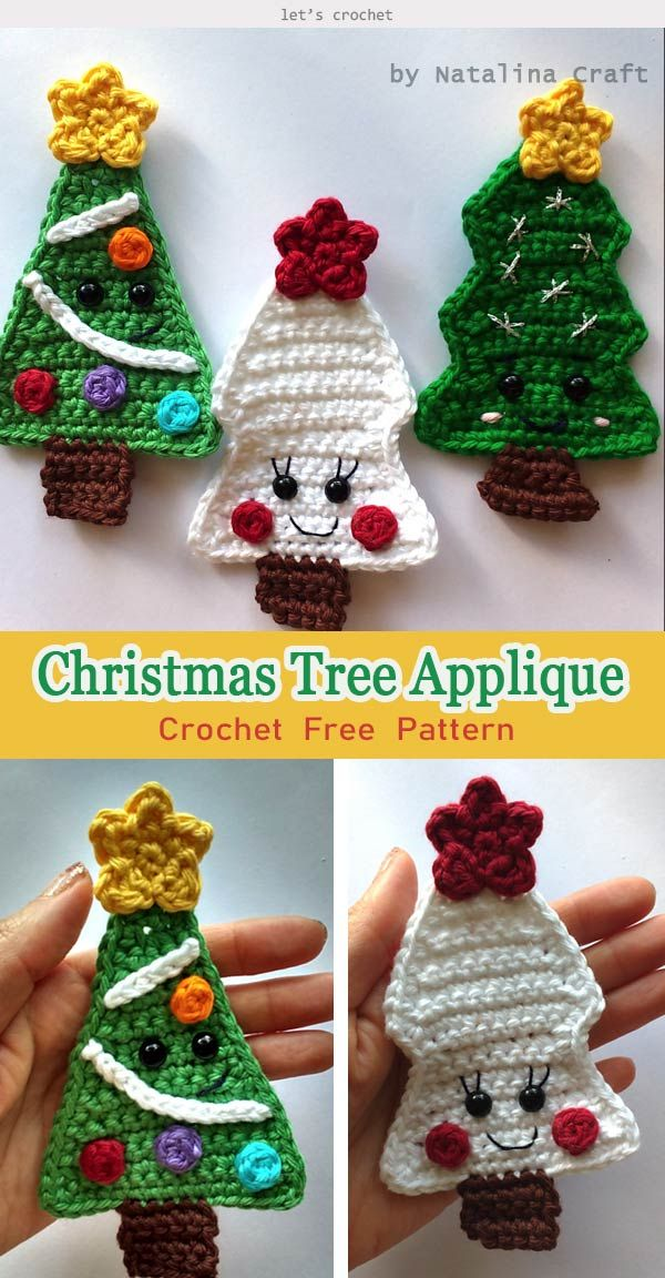 Easy Christmas Trees Crochet Free Pattern Christmas Crochet Patterns Holiday Crochet Crochet Christmas Decorations