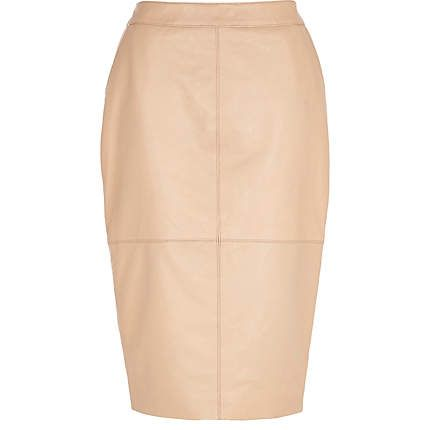 Light pink high waisted leather skirt #riverisland #springpreview