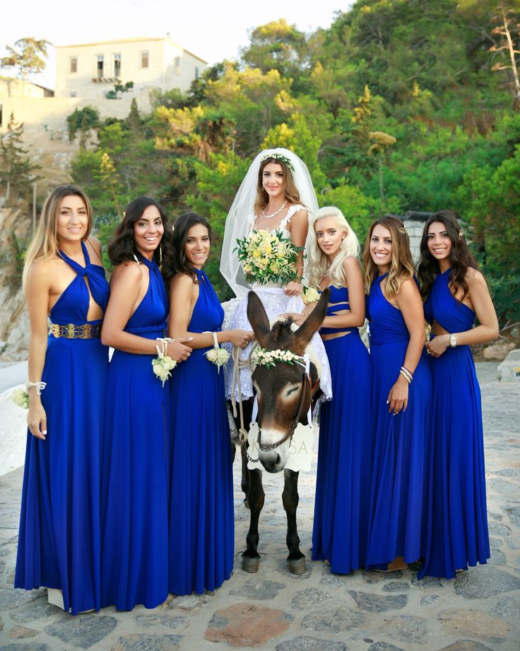 c u t e n e s s _ Donkeys is the only wedding transportation allowed on the island of Hydra but is one of the most romantic touch to your wedding day!!! Here is Nathalie with her beautiful bridesmaids arent they extremely cute?  #wedding #hydra #hydraweddings #weddingphotographer #greeceweddingphotographers #destinationphotographer #donkey #transportation #weddingday #bridesmaids #girls #sotiristsakanikas
