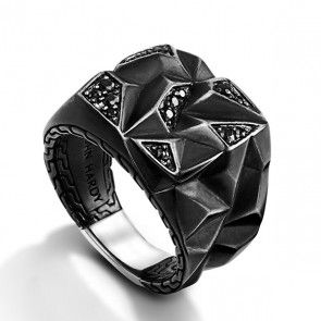 John Hardy Classic Chain Black Sapphire Lava Square Ring | Rings for Men | Dark Black Setting Rings Jewelry | Jewelry & Style for Men