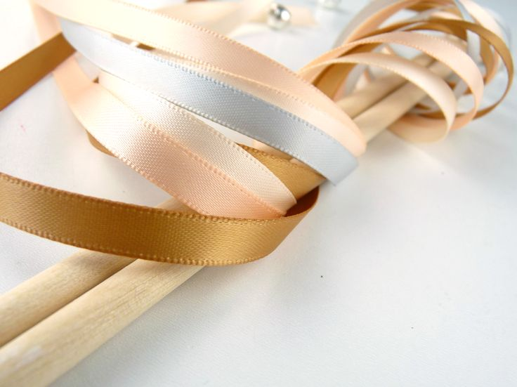 Baguette ruban DIY (version kit ou clé en main) Baguette ruban or et champagné ivoire rose pâle