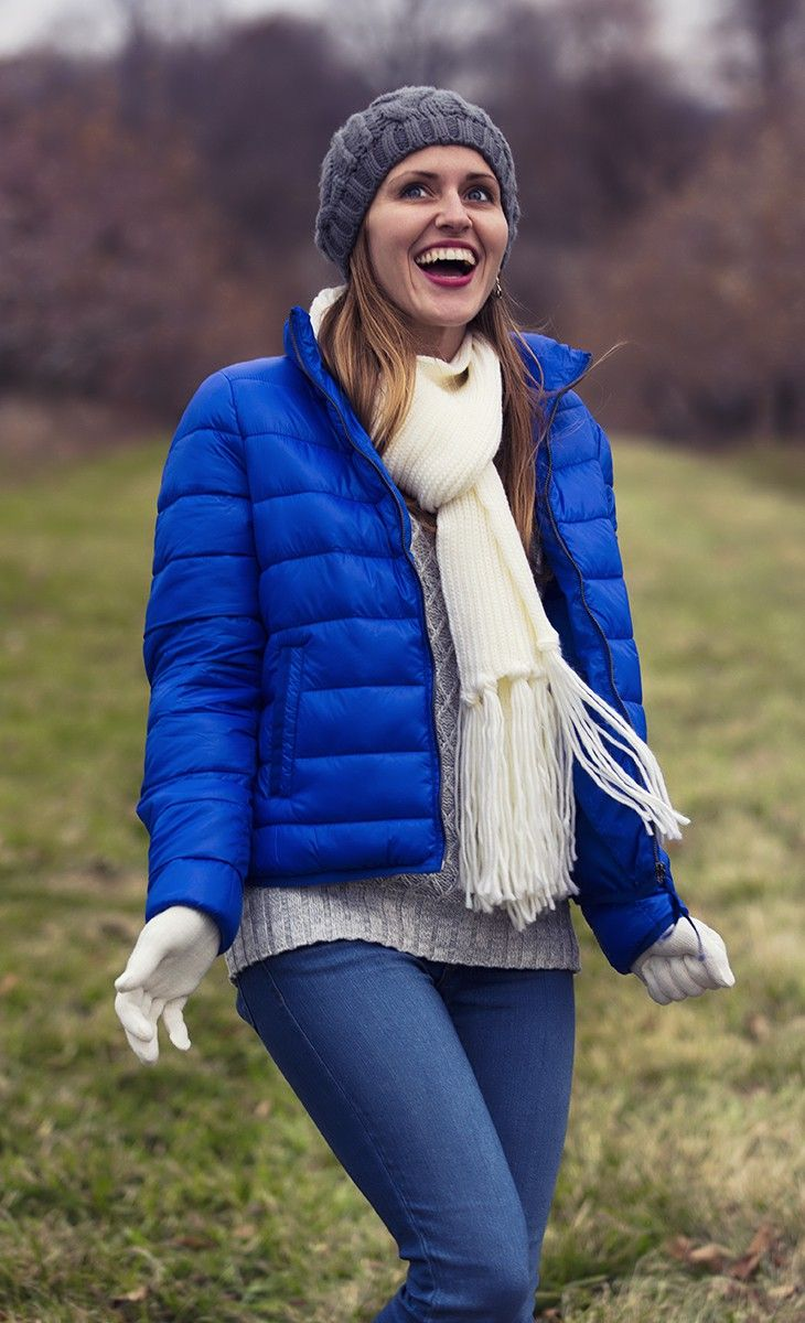 Stand out in the JCP exotic blue puffer jacket.
