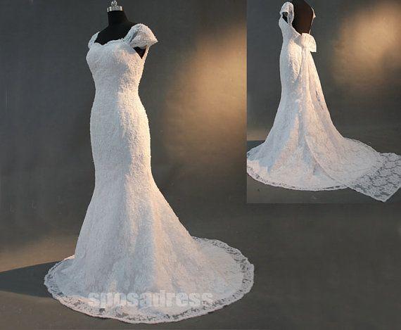 lace cap sleeve wedding dress cap sleeve wedding by sposadress, $328.00