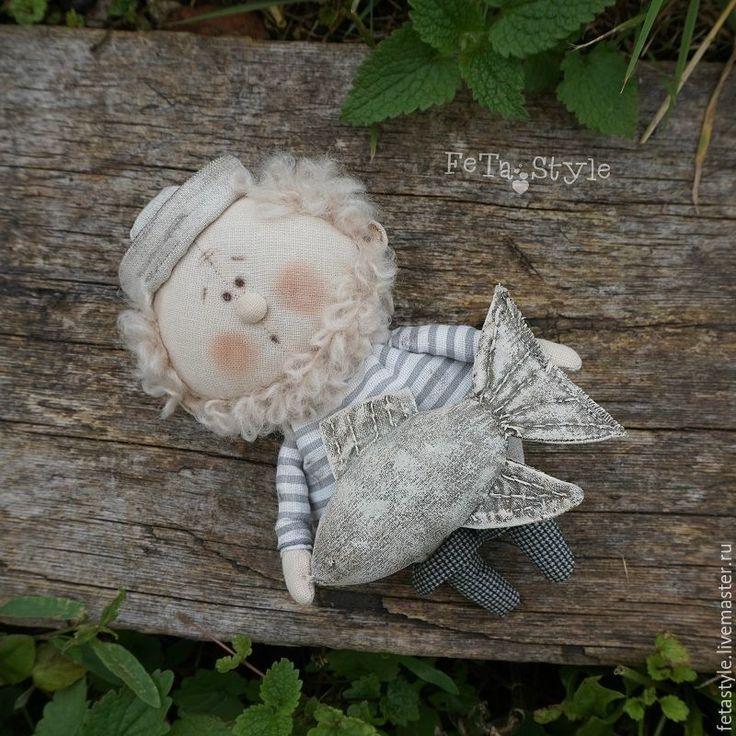 Купить Рыбак и Рыба Кукла текстильная Подарок рыбаку - кукла текстильная, куклы из ткани