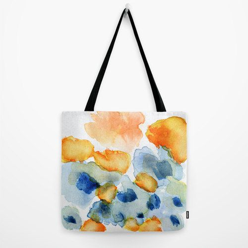 """Flower Inkling"" Tote bag with bright spring flowers."