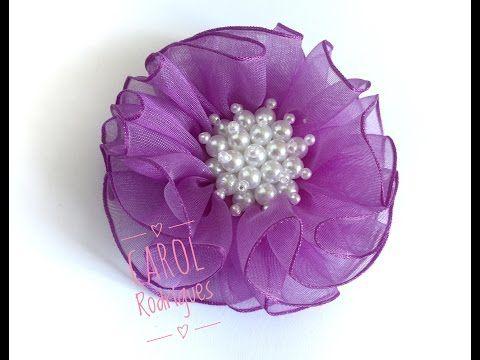 Flor de Organza Super Fácil - Flor de Renda - YouTube