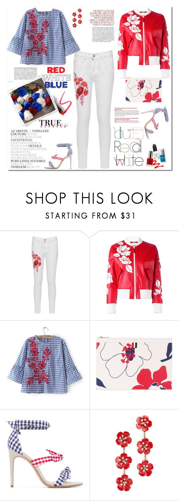 """Red,white and blue flowers"" by ellie366 ❤ liked on Polyvore featuring WearAll, Fendi, WithChic, Thom Browne, Alexandre Birman, SAM., Jennifer Behr, Lapcos, embroidered and whitedenim"