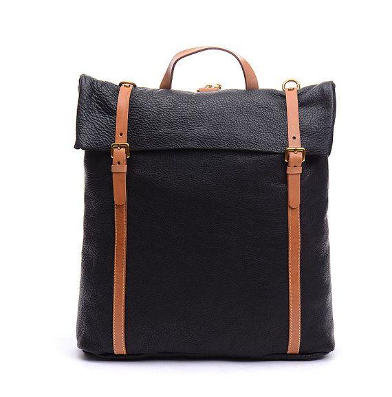 15 unisexe en cuir véritable sac à dos noir Simple par BEIJINGREN