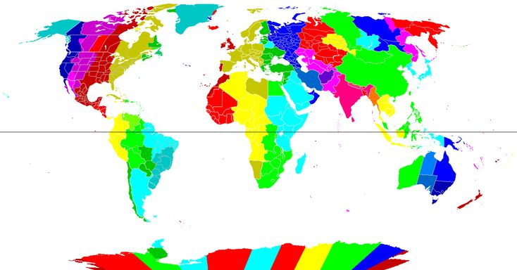 Mapa de los husos horarios del mundo.