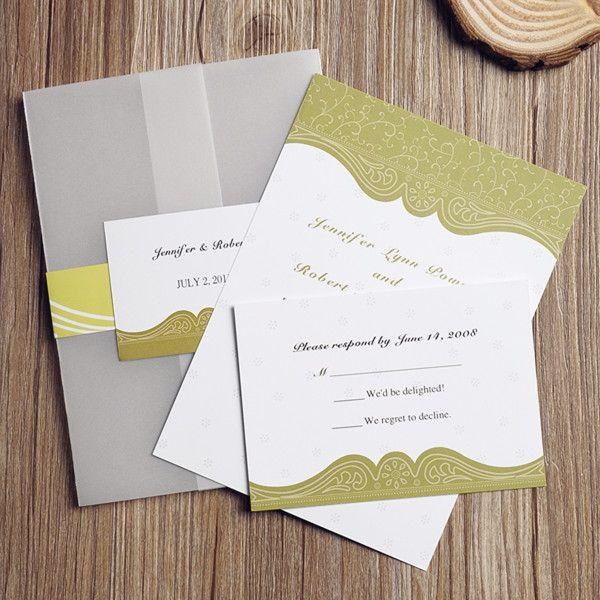 Vintage Olive Green Pocket Wedding Invitations With Free Rsvp Cards EWPI078 As Low 169