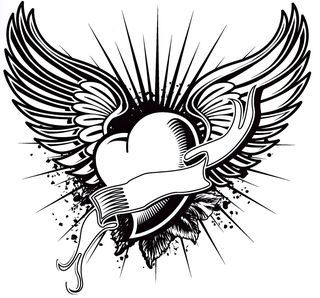 Tattoo heart and wing art from the Tattoo Coloring Book