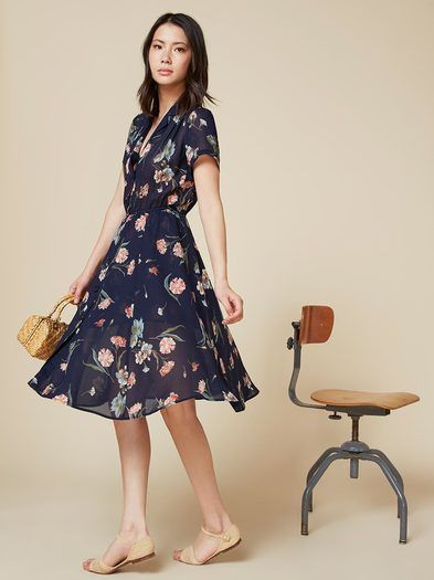 Like the perfect vintage dress except it actually fits. This is a relaxed fitting, collared dress with button front closure and an elastic waist.