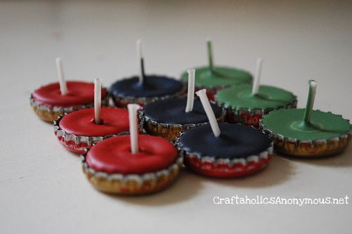 Bottle cap candles: I think these would be perfect on a guy's birthday cake!