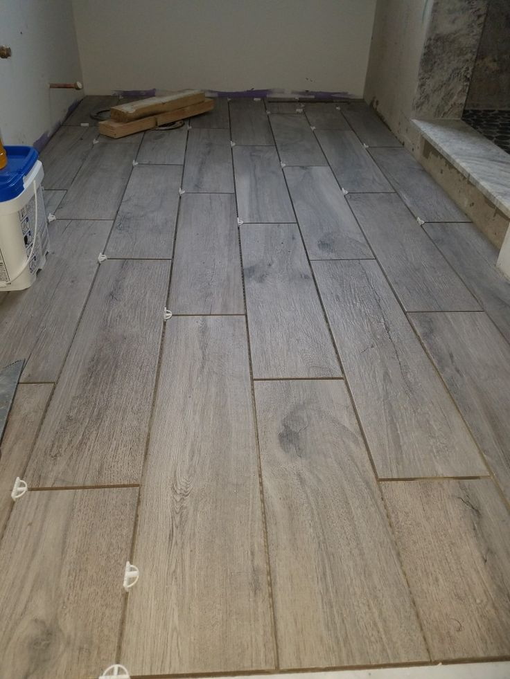 Grey Ceramic Tile Looks Like Natural Wood And Texture