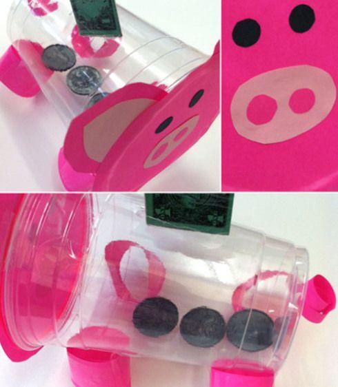 diy piggy bank Κουμπαράς από πλαστικά ποτήρια!