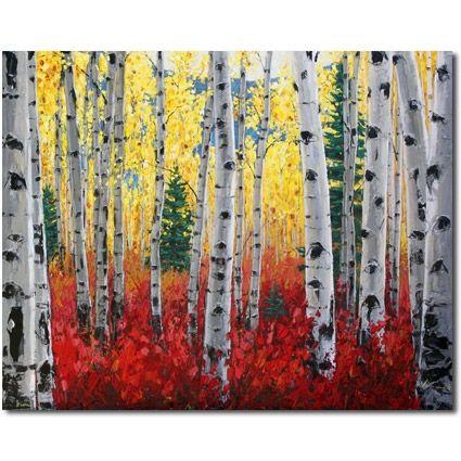 Gathering ideas for paintings and illustrations, Jennifer Vranes work really appeals to me.    Aspen Candy - aspen birch tree art by Jennifer Vranes, painting by artist Jennifer Vranes