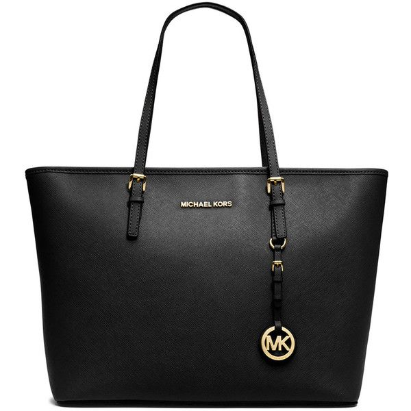 MICHAEL Michael Kors Jet Set Saffiano Travel Tote Bag (2 515 SEK) ❤ liked on Polyvore featuring bags, handbags, tote bags, purses, bolsas, black, black tote bag, travel totes, black zipper tote and travel handbags