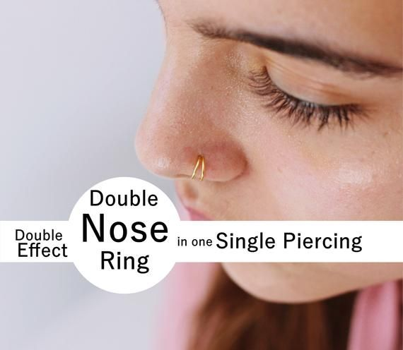 Double Ring nose plated gold diameter 10 mm gift piercing teen woman