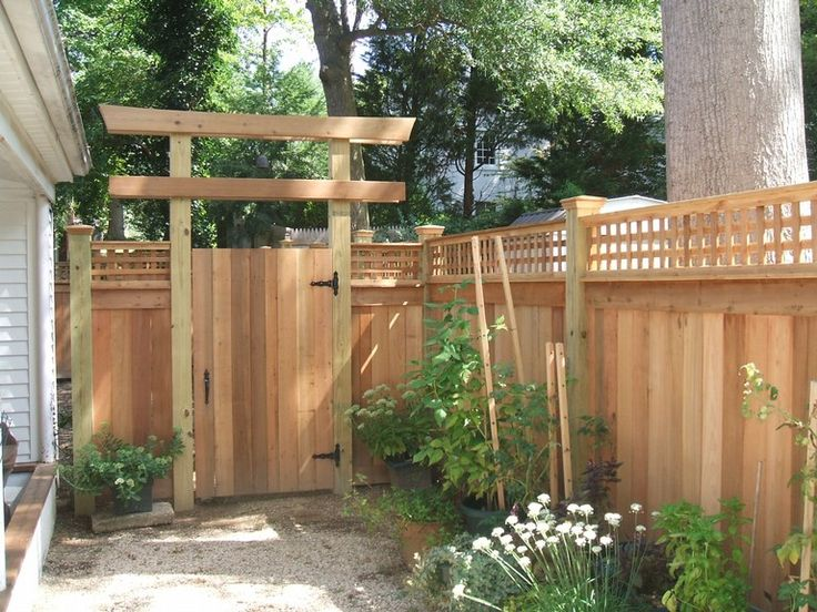 1 japanese style simple pergola garden features for Garden fence features